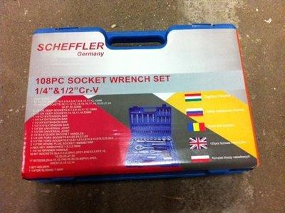 Scheffler 108pc socket wrench set 1/4'' & 1/2''Cr-V